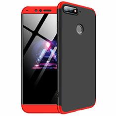 Coque Plastique Mat Protection Integrale 360 Degres Avant et Arriere Etui Housse pour Huawei Y6 (2018) Rouge et Noir