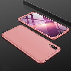 Coque Plastique Mat Protection Integrale 360 Degres Avant et Arriere Etui Housse pour Huawei Y7 Pro (2019) Or Rose