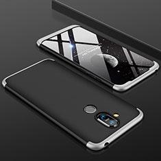 Coque Plastique Mat Protection Integrale 360 Degres Avant et Arriere Etui Housse pour Nokia 7.1 Plus Argent