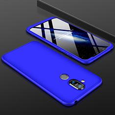 Coque Plastique Mat Protection Integrale 360 Degres Avant et Arriere Etui Housse pour Nokia 7.1 Plus Bleu