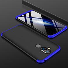 Coque Plastique Mat Protection Integrale 360 Degres Avant et Arriere Etui Housse pour Nokia 7.1 Plus Bleu et Noir