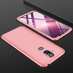 Coque Plastique Mat Protection Integrale 360 Degres Avant et Arriere Etui Housse pour Nokia 7.1 Plus Or Rose