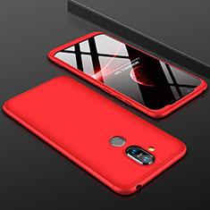 Coque Plastique Mat Protection Integrale 360 Degres Avant et Arriere Etui Housse pour Nokia 7.1 Plus Rouge