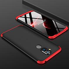 Coque Plastique Mat Protection Integrale 360 Degres Avant et Arriere Etui Housse pour Nokia 7.1 Plus Rouge et Noir
