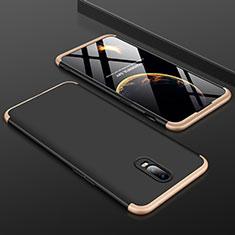 Coque Plastique Mat Protection Integrale 360 Degres Avant et Arriere Etui Housse pour OnePlus 6T Or et Noir