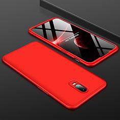 Coque Plastique Mat Protection Integrale 360 Degres Avant et Arriere Etui Housse pour OnePlus 6T Rouge