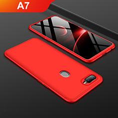 Coque Plastique Mat Protection Integrale 360 Degres Avant et Arriere Etui Housse pour Oppo A7 Rouge