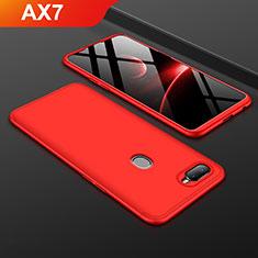 Coque Plastique Mat Protection Integrale 360 Degres Avant et Arriere Etui Housse pour Oppo AX7 Rouge