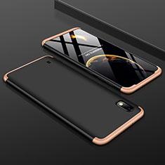 Coque Plastique Mat Protection Integrale 360 Degres Avant et Arriere Etui Housse pour Samsung Galaxy A10 Or et Noir