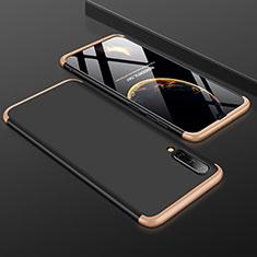 Coque Plastique Mat Protection Integrale 360 Degres Avant et Arriere Etui Housse pour Samsung Galaxy A30S Or et Noir