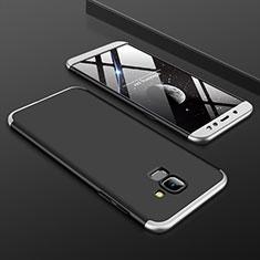Coque Plastique Mat Protection Integrale 360 Degres Avant et Arriere Etui Housse pour Samsung Galaxy A6 (2018) Dual SIM Argent