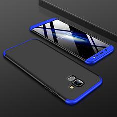 Coque Plastique Mat Protection Integrale 360 Degres Avant et Arriere Etui Housse pour Samsung Galaxy A6 (2018) Dual SIM Bleu et Noir
