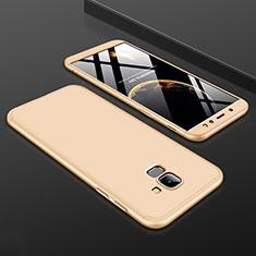 Coque Plastique Mat Protection Integrale 360 Degres Avant et Arriere Etui Housse pour Samsung Galaxy A6 (2018) Dual SIM Or