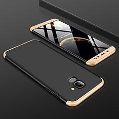 Coque Plastique Mat Protection Integrale 360 Degres Avant et Arriere Etui Housse pour Samsung Galaxy A6 (2018) Dual SIM Or et Noir