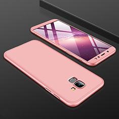 Coque Plastique Mat Protection Integrale 360 Degres Avant et Arriere Etui Housse pour Samsung Galaxy A6 (2018) Dual SIM Or Rose