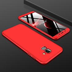 Coque Plastique Mat Protection Integrale 360 Degres Avant et Arriere Etui Housse pour Samsung Galaxy A6 (2018) Dual SIM Rouge