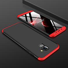 Coque Plastique Mat Protection Integrale 360 Degres Avant et Arriere Etui Housse pour Samsung Galaxy A6 (2018) Dual SIM Rouge et Noir