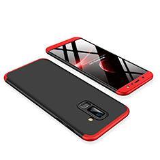 Coque Plastique Mat Protection Integrale 360 Degres Avant et Arriere Etui Housse pour Samsung Galaxy A6 Plus (2018) Rouge et Noir