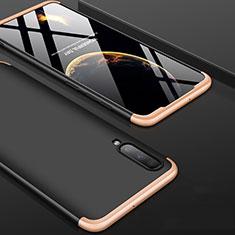 Coque Plastique Mat Protection Integrale 360 Degres Avant et Arriere Etui Housse pour Samsung Galaxy A70S Or et Noir