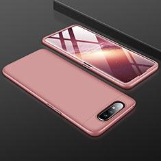 Coque Plastique Mat Protection Integrale 360 Degres Avant et Arriere Etui Housse pour Samsung Galaxy A80 Or Rose