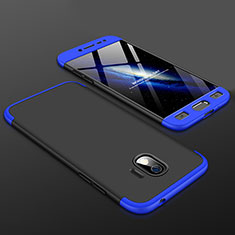 Coque Plastique Mat Protection Integrale 360 Degres Avant et Arriere Etui Housse pour Samsung Galaxy J2 Pro (2018) J250F Bleu et Noir