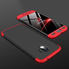 Coque Plastique Mat Protection Integrale 360 Degres Avant et Arriere Etui Housse pour Samsung Galaxy J2 Pro (2018) J250F Rouge et Noir