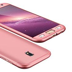 Coque Plastique Mat Protection Integrale 360 Degres Avant et Arriere Etui Housse pour Samsung Galaxy J5 (2017) SM-J750F Or Rose