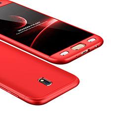 Coque Plastique Mat Protection Integrale 360 Degres Avant et Arriere Etui Housse pour Samsung Galaxy J5 (2017) SM-J750F Rouge