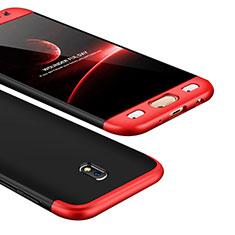 Coque Plastique Mat Protection Integrale 360 Degres Avant et Arriere Etui Housse pour Samsung Galaxy J5 (2017) SM-J750F Rouge et Noir