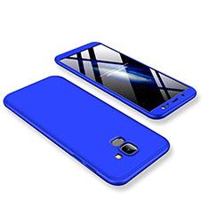 Coque Plastique Mat Protection Integrale 360 Degres Avant et Arriere Etui Housse pour Samsung Galaxy J6 (2018) J600F Bleu