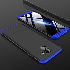 Coque Plastique Mat Protection Integrale 360 Degres Avant et Arriere Etui Housse pour Samsung Galaxy J6 (2018) J600F Bleu et Noir