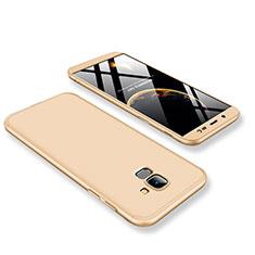 Coque Plastique Mat Protection Integrale 360 Degres Avant et Arriere Etui Housse pour Samsung Galaxy J6 (2018) J600F Or