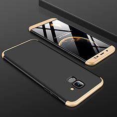 Coque Plastique Mat Protection Integrale 360 Degres Avant et Arriere Etui Housse pour Samsung Galaxy J6 (2018) J600F Or et Noir