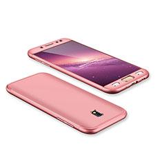 Coque Plastique Mat Protection Integrale 360 Degres Avant et Arriere Etui Housse pour Samsung Galaxy J7 Pro Or Rose