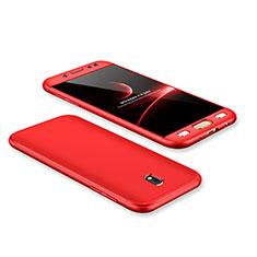 Coque Plastique Mat Protection Integrale 360 Degres Avant et Arriere Etui Housse pour Samsung Galaxy J7 Pro Rouge