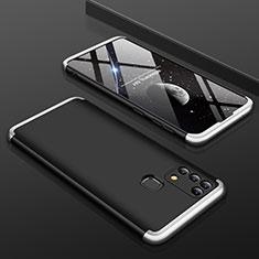 Coque Plastique Mat Protection Integrale 360 Degres Avant et Arriere Etui Housse pour Samsung Galaxy M21s Argent et Noir