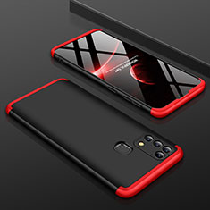 Coque Plastique Mat Protection Integrale 360 Degres Avant et Arriere Etui Housse pour Samsung Galaxy M21s Rouge et Noir