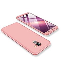 Coque Plastique Mat Protection Integrale 360 Degres Avant et Arriere Etui Housse pour Samsung Galaxy On6 (2018) J600F J600G Or Rose