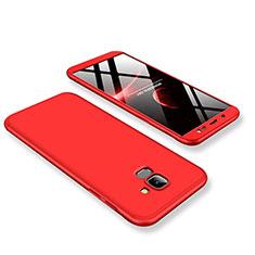 Coque Plastique Mat Protection Integrale 360 Degres Avant et Arriere Etui Housse pour Samsung Galaxy On6 (2018) J600F J600G Rouge