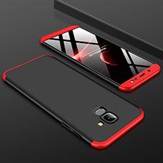 Coque Plastique Mat Protection Integrale 360 Degres Avant et Arriere Etui Housse pour Samsung Galaxy On6 (2018) J600F J600G Rouge et Noir