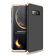 Coque Plastique Mat Protection Integrale 360 Degres Avant et Arriere Etui Housse pour Samsung Galaxy S10e Or et Noir