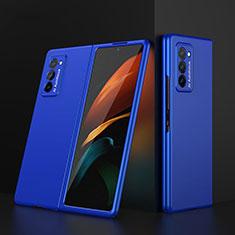 Coque Plastique Mat Protection Integrale 360 Degres Avant et Arriere Etui Housse pour Samsung Galaxy Z Fold2 5G Bleu