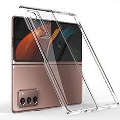 Coque Plastique Mat Protection Integrale 360 Degres Avant et Arriere Etui Housse pour Samsung Galaxy Z Fold2 5G Clair
