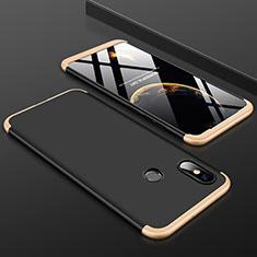 Coque Plastique Mat Protection Integrale 360 Degres Avant et Arriere Etui Housse pour Xiaomi Mi 8 Or et Noir