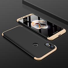 Coque Plastique Mat Protection Integrale 360 Degres Avant et Arriere Etui Housse pour Xiaomi Mi A2 Or et Noir