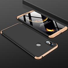 Coque Plastique Mat Protection Integrale 360 Degres Avant et Arriere Etui Housse pour Xiaomi Mi Max 3 Or et Noir