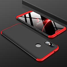 Coque Plastique Mat Protection Integrale 360 Degres Avant et Arriere Etui Housse pour Xiaomi Redmi 6 Pro Rouge et Noir
