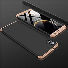 Coque Plastique Mat Protection Integrale 360 Degres Avant et Arriere Etui Housse pour Xiaomi Redmi 7A Or et Noir