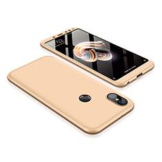 Coque Plastique Mat Protection Integrale 360 Degres Avant et Arriere Etui Housse pour Xiaomi Redmi Note 5 Pro Or