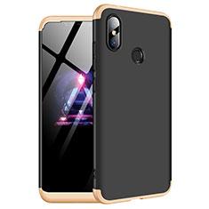 Coque Plastique Mat Protection Integrale 360 Degres Avant et Arriere Etui Housse pour Xiaomi Redmi Note 6 Pro Or et Noir